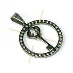 "pendant steel ""key"" 29mm with strass"