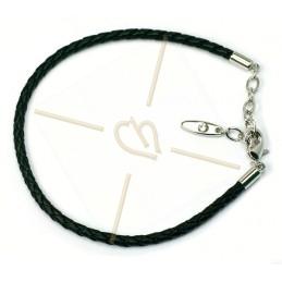 Swarovski pulsera cuero negro por perlas Becharmed
