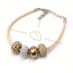 Swarovski beige leder armband voor Becharmed beads