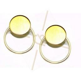 boucle d'oreille disque 15mm avec anneau 22mm doré