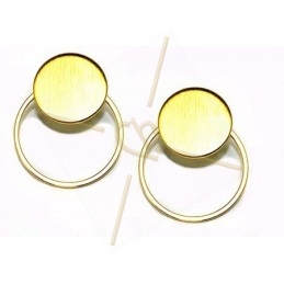 oorbellen disk 15mm met ring 22mm gold