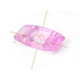 "plexi bead 18*9mm 2-hole 'tragenperlen"" pink"