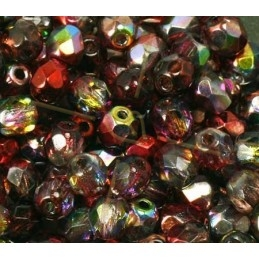 Multi Wine Red 2 Perles a facettes 4mm