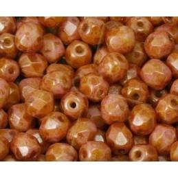 Red Dark Travertin Perles a facettes 4mm
