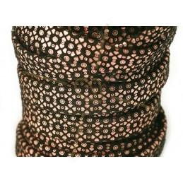 Cuir plat 10mm leopard metal renforcé Noir Or Rose