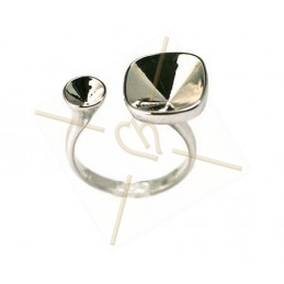 "Ring ""one size"" voor Swarovski strass 10*10 12*12 en SS19"
