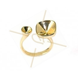 "Ring goudkleur ""one size"" voor Swarovski strass 10*10 12*12 en SS19"