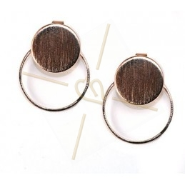 earrings disk 15mm with ring 22mm rose gold