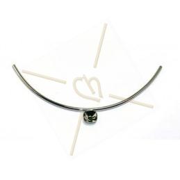 halve halsketting zilver tube 160mm voor Swarovski 4470 12*12mm