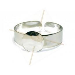 "Bracelet rhodium ""one Size"" for Swarovski Crystal Rocks 24mm"