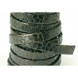 leather flat 10mm chèvre ecaille black