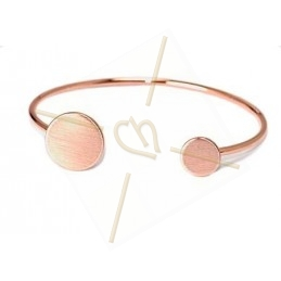 armband staal met schijf 15mm + 10mm Rose gold