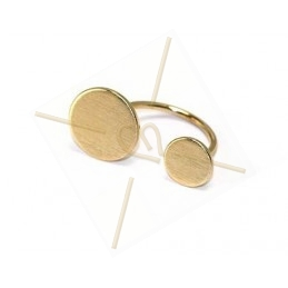 Ring adjustable metal with 2 discs 10 and 14mm gold