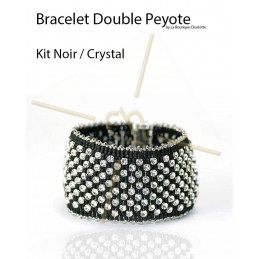 kit Double Peyote Armband Zwart Crystal
