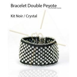 kit Double Peyote bracelet Black Crystal