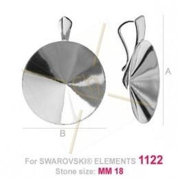 hangertje voor Swarovski 1122 18mm in zilver .925