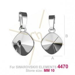 pendant for Swarovski 4470 10mm silver .925