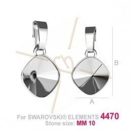 pendentif pour Swarovski 4470 10mm argent .925