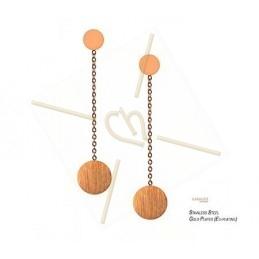 Boucle d'oreilles acier inoxidable elegante rond avec chaine rose gold