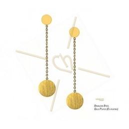 oorbellen  staal trendy rond met ketting gold
