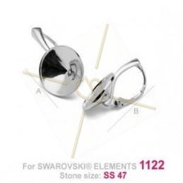 boucles d'oreille argent .925 pour Swarovski 1122 rivoli 10mm
