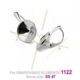earrings silver .925  for Swarovski 1122 rivoli 10mm