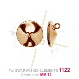 pendant for Swarovski 1122 12mm in Silver .925 rose gold