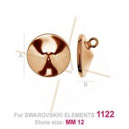 pendentif pour Swarovski 1122 12mm in Silver .925 doré rose
