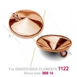 hangertje voor Swarovski 1122 14mm in zilver .925 Rose Gold
