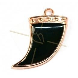 Corne 27mm pendentif Rose Gold avec Enamel Black