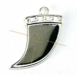 Corne 27mm pendentif Rhodium avec Enamel Black