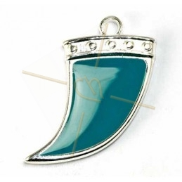 Horn 27mm pendant Rhodium with Enamel Petrol Teal