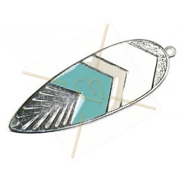 Feather 53mm pendant Rhodium with Enamel Turquoise - White