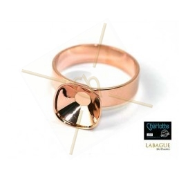 Ring rose gold color for Swarovski 4470 10*10mm