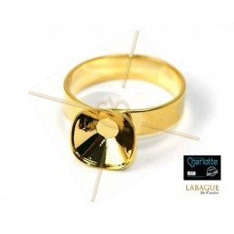 Ring gold color for Swarovski 4470 10*10mm