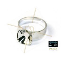 Ring rhodium voor Swarovski 4470 10*10mm