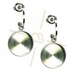 Earrings steel Fashion rond 15mm Rhodium