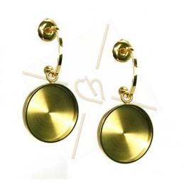 Boucles d'oreille acier Fashion rond 15mm Gold