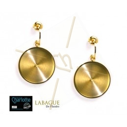 oorbellen staal fashion rond 24mm Gold