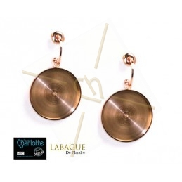 oorbellen staal fashion rond 24mm Rose Gold