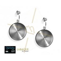 Boucles d'oreille acier Fashion rond 24mm Rhodium