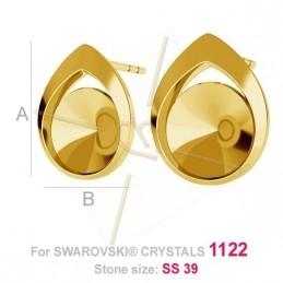 boucles d'oreille argent .925 pour Swarovski 1122 rivoli 8mm gold