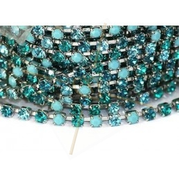 ketting staal met strass pp24 Turquoise