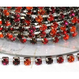 chain steel with strass PP24 red