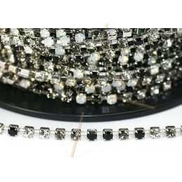 chain steel with strass PP24 black and white