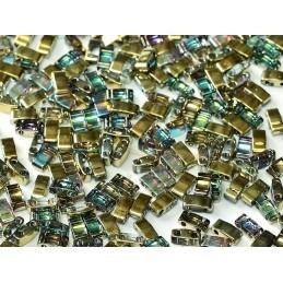 Half Tila Miyuki 5*2mm Crystal Golden Rainbow