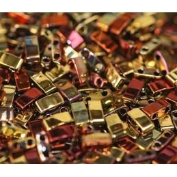 Half Tila Miyuki 5*2mm Black California Gold Rush