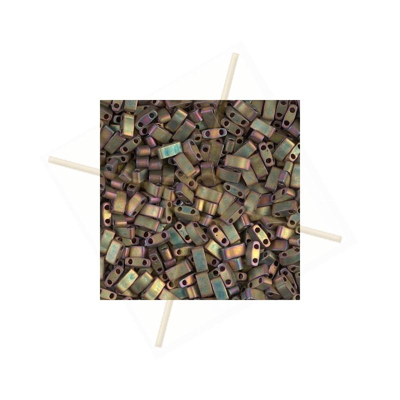 Half Tila Miyuki 5*2mm Iridescent rainbow matted