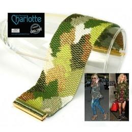 kit Double Peyote bracelet Camouflage Green