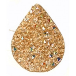 Swarovski Fine Rocks druppel 21*28mm Crystal AB - gold paillete